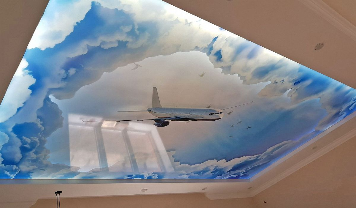 Įtempiamu lubų dizaino idėjos ir piešiniai su foto spauda 3