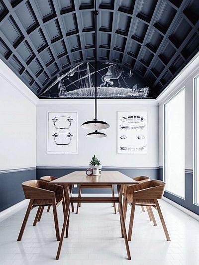 Gražios aukštos arkos formos įtempiamos lubos su įdomiu dizainu