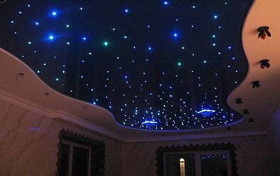 Žvaigždėtas dangus ant įtempiamu lubų